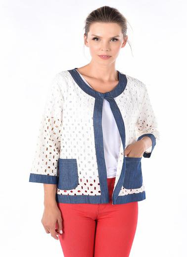 Optique Knitwear Düz Bisiklet Yaka Uzun Kol Viskon Ceket Beyaz